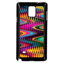 Multicolored Wave Distortion Zigzag Chevrons Samsung Galaxy Note 4 Case (black) by EDDArt