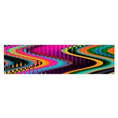 Multicolored Wave Distortion Zigzag Chevrons Satin Scarf (oblong) by EDDArt