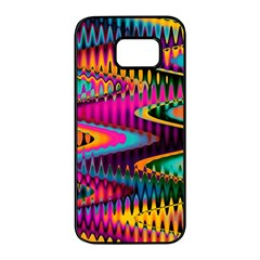 Multicolored Wave Distortion Zigzag Chevrons Samsung Galaxy S7 Edge Black Seamless Case by EDDArt