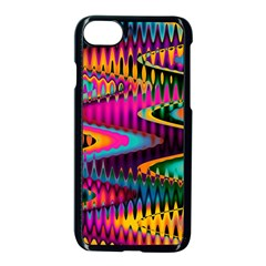 Multicolored Wave Distortion Zigzag Chevrons Apple Iphone 7 Seamless Case (black)