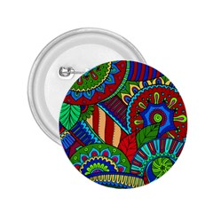 Pop Art Paisley Flowers Ornaments Multicolored 2 2 25  Buttons by EDDArt