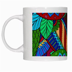 Pop Art Paisley Flowers Ornaments Multicolored 2 White Mugs by EDDArt