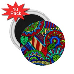 Pop Art Paisley Flowers Ornaments Multicolored 2 2 25  Magnets (10 Pack)  by EDDArt