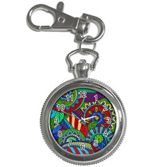 Pop Art Paisley Flowers Ornaments Multicolored 2 Key Chain Watches by EDDArt