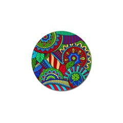 Pop Art Paisley Flowers Ornaments Multicolored 2 Golf Ball Marker (4 Pack) by EDDArt