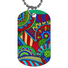 Pop Art Paisley Flowers Ornaments Multicolored 2 Dog Tag (two Sides)
