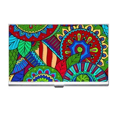 Pop Art Paisley Flowers Ornaments Multicolored 2 Business Card Holders