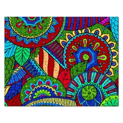 Pop Art Paisley Flowers Ornaments Multicolored 2 Rectangular Jigsaw Puzzl by EDDArt