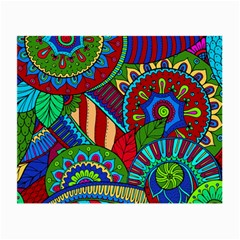 Pop Art Paisley Flowers Ornaments Multicolored 2 Small Glasses Cloth by EDDArt