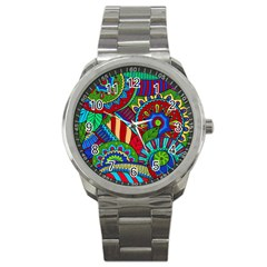 Pop Art Paisley Flowers Ornaments Multicolored 2 Sport Metal Watch by EDDArt