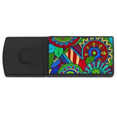 Pop Art Paisley Flowers Ornaments Multicolored 2 Rectangular Usb Flash Drive
