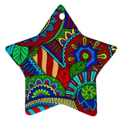 Pop Art Paisley Flowers Ornaments Multicolored 2 Star Ornament (two Sides) by EDDArt