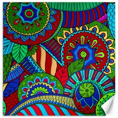 Pop Art Paisley Flowers Ornaments Multicolored 2 Canvas 16  X 16