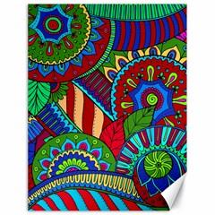 Pop Art Paisley Flowers Ornaments Multicolored 2 Canvas 18  X 24   by EDDArt