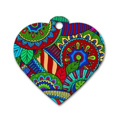 Pop Art Paisley Flowers Ornaments Multicolored 2 Dog Tag Heart (one Side) by EDDArt
