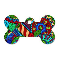 Pop Art Paisley Flowers Ornaments Multicolored 2 Dog Tag Bone (one Side) by EDDArt