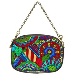 Pop Art Paisley Flowers Ornaments Multicolored 2 Chain Purses (one Side)  by EDDArt