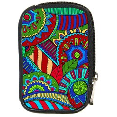 Pop Art Paisley Flowers Ornaments Multicolored 2 Compact Camera Cases by EDDArt