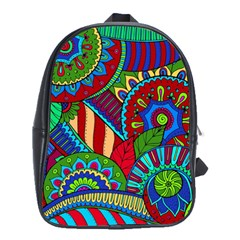 Pop Art Paisley Flowers Ornaments Multicolored 2 School Bag (large)