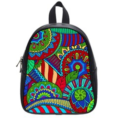 Pop Art Paisley Flowers Ornaments Multicolored 2 School Bag (small) by EDDArt