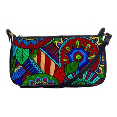 Pop Art Paisley Flowers Ornaments Multicolored 2 Shoulder Clutch Bags by EDDArt
