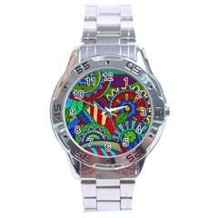 Pop Art Paisley Flowers Ornaments Multicolored 2 Stainless Steel Analogue Watch by EDDArt