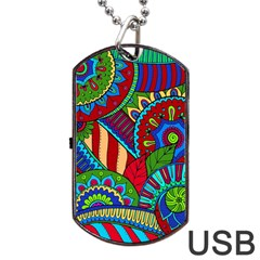 Pop Art Paisley Flowers Ornaments Multicolored 2 Dog Tag Usb Flash (one Side) by EDDArt