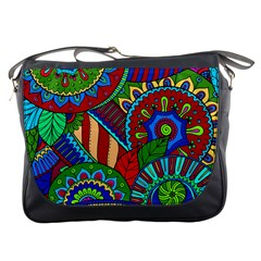 Pop Art Paisley Flowers Ornaments Multicolored 2 Messenger Bags by EDDArt