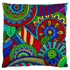 Pop Art Paisley Flowers Ornaments Multicolored 2 Large Cushion Case (one Side) by EDDArt