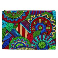 Pop Art Paisley Flowers Ornaments Multicolored 2 Cosmetic Bag (xxl) by EDDArt