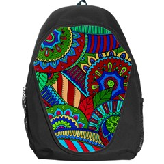 Pop Art Paisley Flowers Ornaments Multicolored 2 Backpack Bag by EDDArt