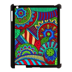 Pop Art Paisley Flowers Ornaments Multicolored 2 Apple Ipad 3/4 Case (black) by EDDArt