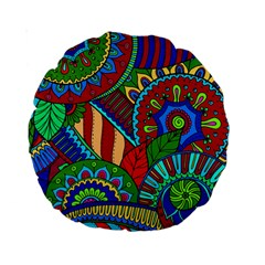 Pop Art Paisley Flowers Ornaments Multicolored 2 Standard 15  Premium Round Cushions by EDDArt