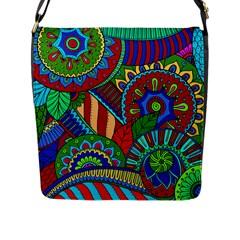 Pop Art Paisley Flowers Ornaments Multicolored 2 Flap Messenger Bag (l)  by EDDArt