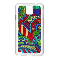 Pop Art Paisley Flowers Ornaments Multicolored 2 Samsung Galaxy Note 3 N9005 Case (white) by EDDArt