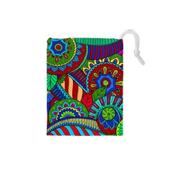 Pop Art Paisley Flowers Ornaments Multicolored 2 Drawstring Pouches (small)  by EDDArt