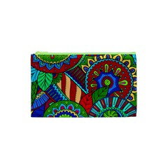 Pop Art Paisley Flowers Ornaments Multicolored 2 Cosmetic Bag (xs) by EDDArt