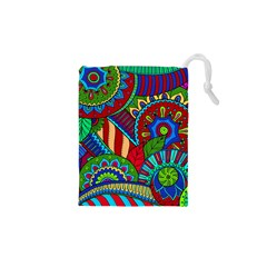 Pop Art Paisley Flowers Ornaments Multicolored 2 Drawstring Pouches (xs)  by EDDArt