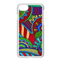 Pop Art Paisley Flowers Ornaments Multicolored 2 Apple Iphone 7 Seamless Case (white)
