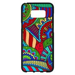Pop Art Paisley Flowers Ornaments Multicolored 2 Samsung Galaxy S8 Plus Black Seamless Case by EDDArt