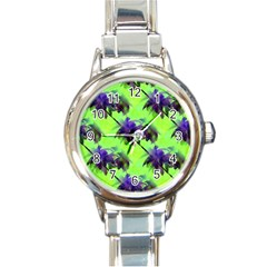Palm Trees Lime In The Coconut Round Italian Charm Watch