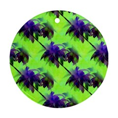 Palm Trees Lime In The Coconut Round Ornament (two Sides) by CrypticFragmentsColors