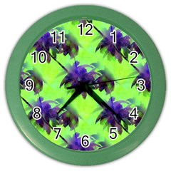 Palm Trees Lime In The Coconut Color Wall Clock