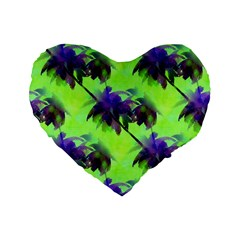 Palm Trees Lime In The Coconut Standard 16  Premium Flano Heart Shape Cushions by CrypticFragmentsColors