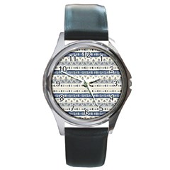 Native American Ornaments Watercolor Pattern Blue Round Metal Watch