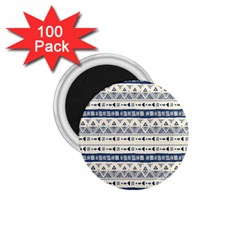 Native American Ornaments Watercolor Pattern Blue 1 75  Magnets (100 Pack)
