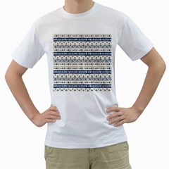 Native American Ornaments Watercolor Pattern Blue Men s T Shirt (white) (two Sided) by EDDArt