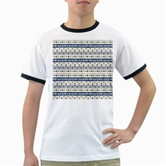Native American Ornaments Watercolor Pattern Blue Ringer T Shirts
