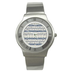 Native American Ornaments Watercolor Pattern Blue Stainless Steel Watch