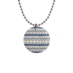 Native American Ornaments Watercolor Pattern Blue Button Necklaces